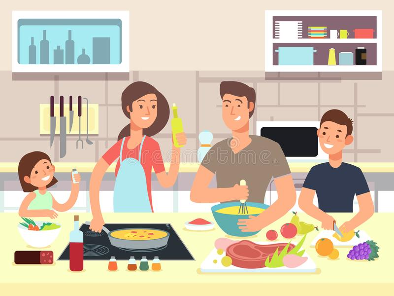 Glückliches Familienkochen Mutter und Vater mit Kindern kochen Gerichte in der Küchenkarikatur-Vektorillustration stock abbildung