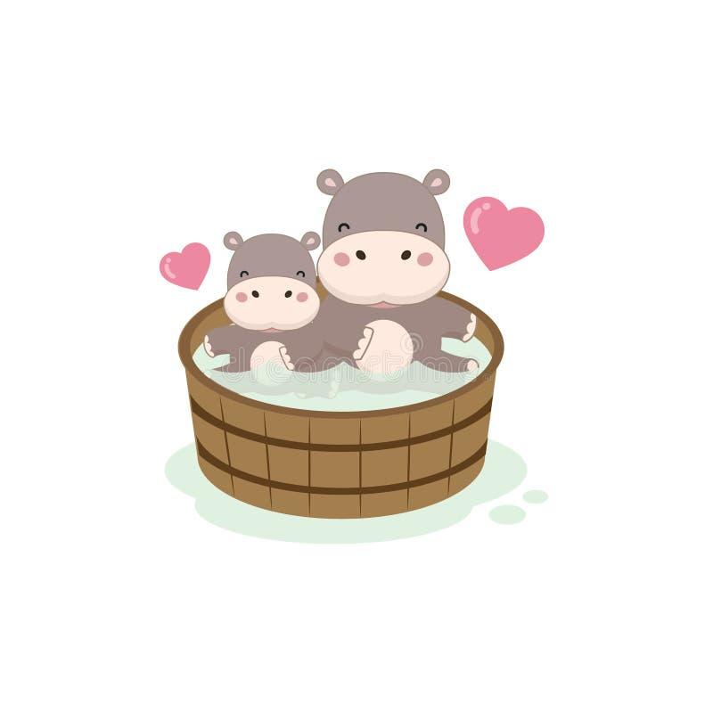 Glückliches Flusspferd und Baby in der hölzernen Badewanne lizenzfreie abbildung
