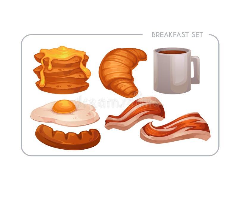 Glückliches Frühstück, Vektorkarikatur-Nahrungsmittelanlagegut für Ihr bewegliches Spiel vektor abbildung