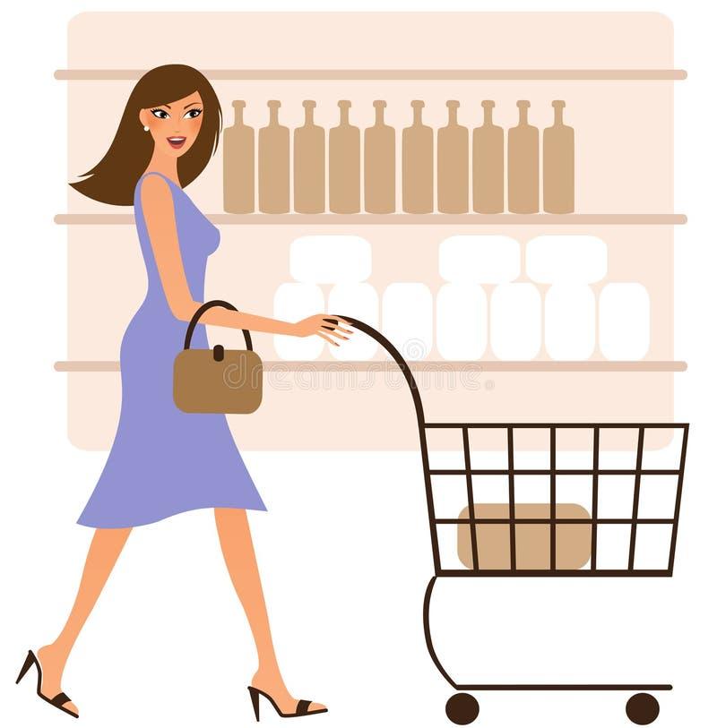 Glückliches Fraueneinkaufen vektor abbildung
