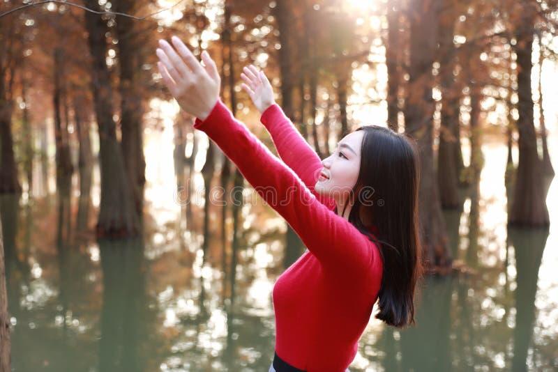 Glückliches Frauengefühl der Freiheit frei in einer Herbstnaturluft stockfotografie