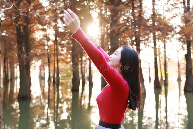 Glückliches Frauengefühl der Freiheit frei in einer Herbstnaturluft stockfoto