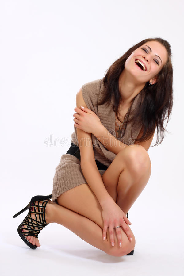 Glückliches Frauenlächeln stockfotografie