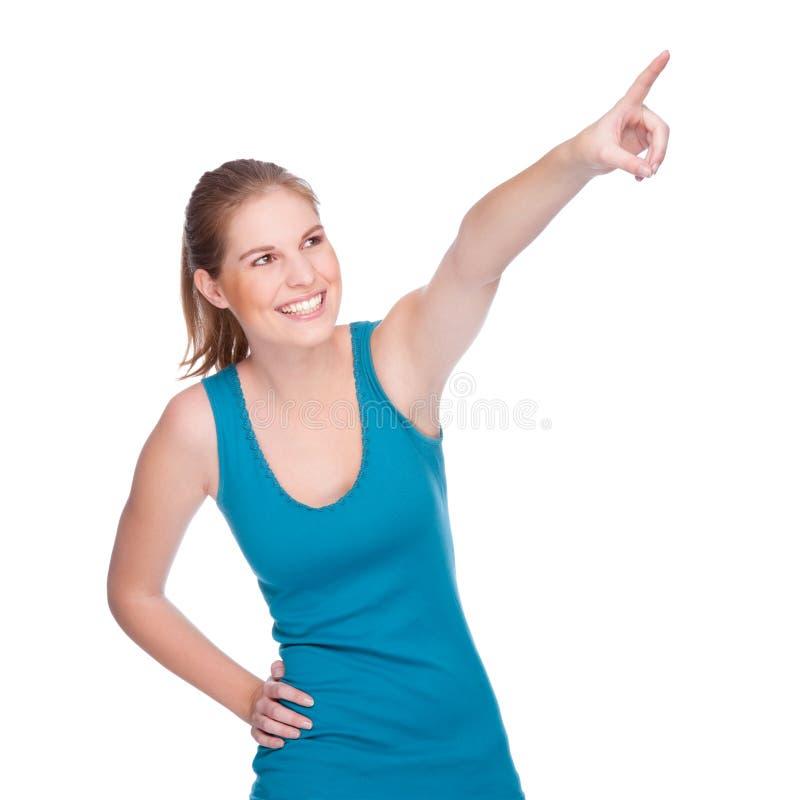 Glückliches Frauenzeigen lizenzfreie stockfotografie