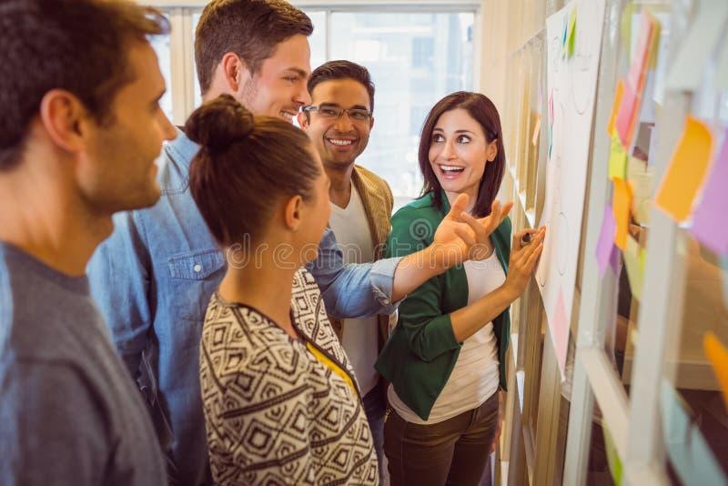 Glückliches Geschäftsteam in einer Sitzung lizenzfreies stockfoto