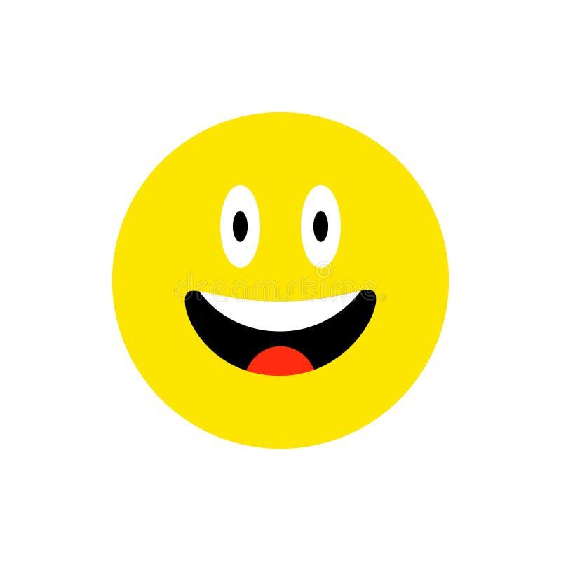 Gl?ckliches Gesicht l?chelndes emoji mit offenem Mund Flache Art des lustigen L?chelns Nettes Emoticonsymbol Smiley, Lachenikone  lizenzfreie abbildung