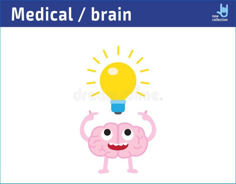 Glückliches Gesichtsgehirn der netten Karikatur mit Haben einer Idee Glühlampe, kreatives Ideenzeichnen inspiration stock abbildung