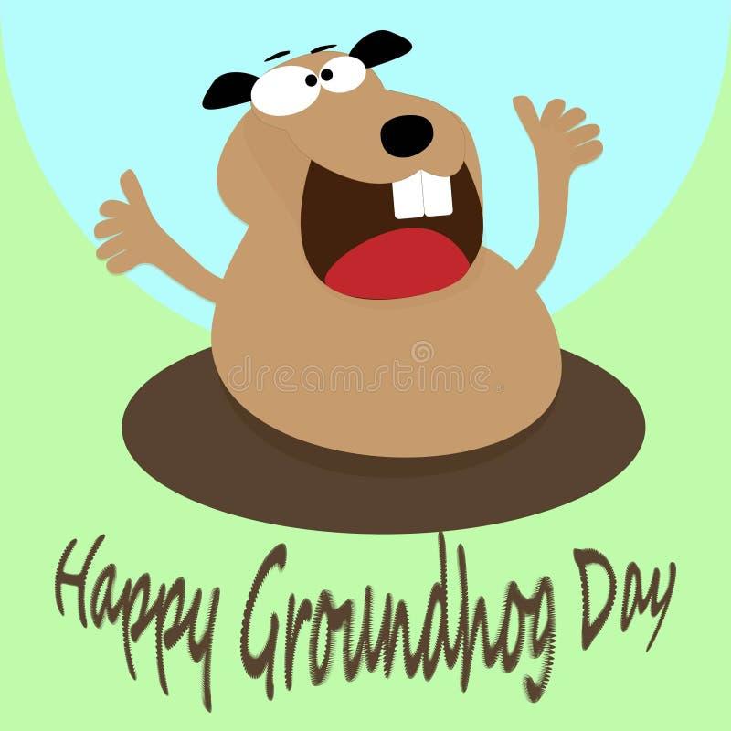 Glückliches groundhog, das oben von seinem Loch schaut vektor abbildung