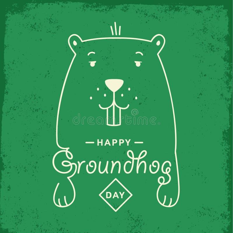 Glückliches Groundhog Day Auch im corel abgehobenen Betrag stockbild