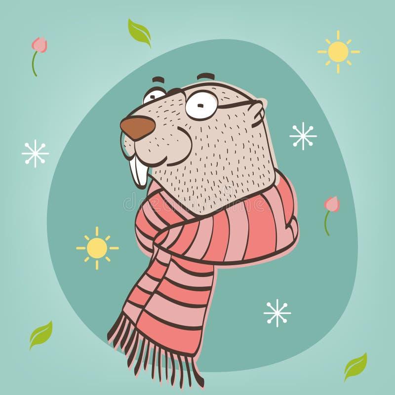 Glückliches Groundhog Day Vektorillustration mit groundhog vektor abbildung