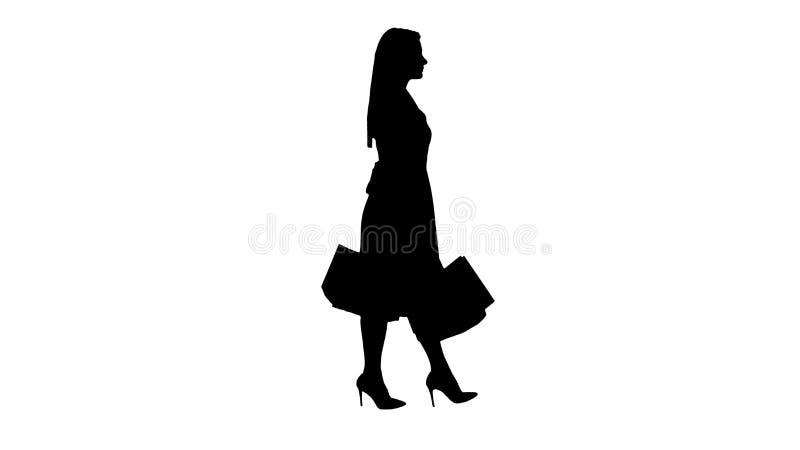Glückliches hübsches Mädchen des Schattenbildes, welches das Gehen mit Einkaufstaschen hält lizenzfreie abbildung