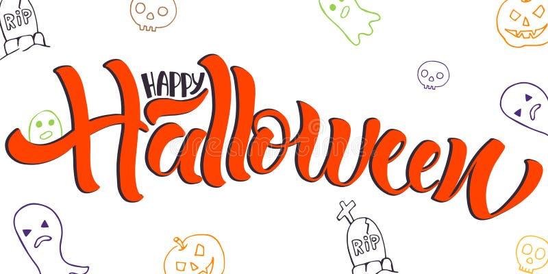 Glückliches Halloween, das Vektorillustration beschriftet stock abbildung