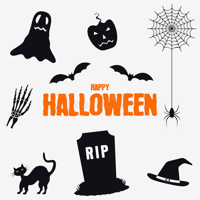 Glückliches Halloween - Dekorationselementsatz Sammlung von Halloween silhouettiert Ikonen Vektor stock abbildung