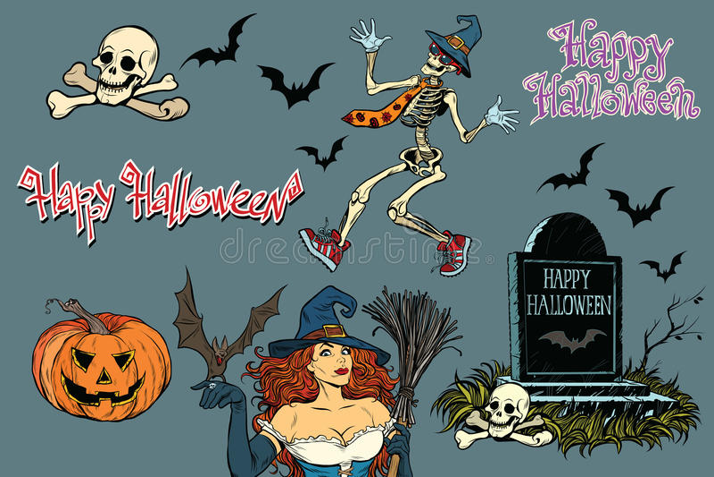 Glückliches Halloween eine Sammlung Charaktere Aufkleber skeleton stock abbildung