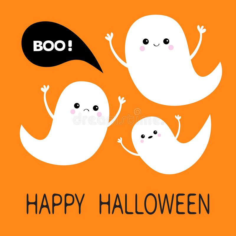 Glückliches Halloween Fliegengeist-Geistsatz Drei furchtsame weiße Geister Gespenstischer Charakter Boo Cute-Karikatur Lächelndes lizenzfreie abbildung
