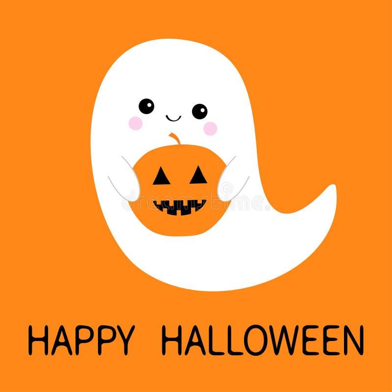 Glückliches Halloween Fliegengeistgeist, der Kürbis Buh hält Furchtsame weiße Geister Gespenstischer Babycharakter der netten Kar lizenzfreie abbildung