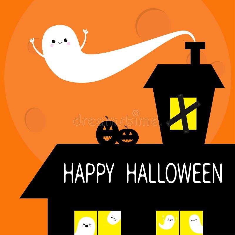 Glückliches Halloween Geisterhausdach-Dachbodendachboden Lächelndes Gesicht des Kürbises des Fliegengeistes zwei Licht auf versch stock abbildung