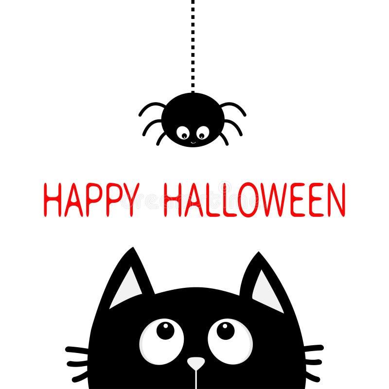 Glückliches Halloween Gesichtskopfschattenbild der schwarzen Katze, das oben zum Hängen an StrichlinieWeb spider Insekt schaut Ne lizenzfreie abbildung