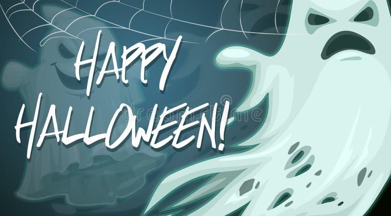 Glückliches Halloween, gespenstischer Geist im Spinnennetz stock abbildung