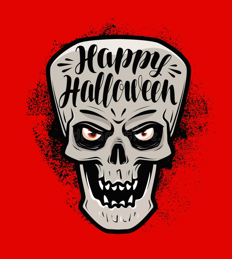 Glückliches Halloween, Grußkarte Furchtsamer Schädel oder Monster Beschriftungs-Vektorillustration lizenzfreie abbildung