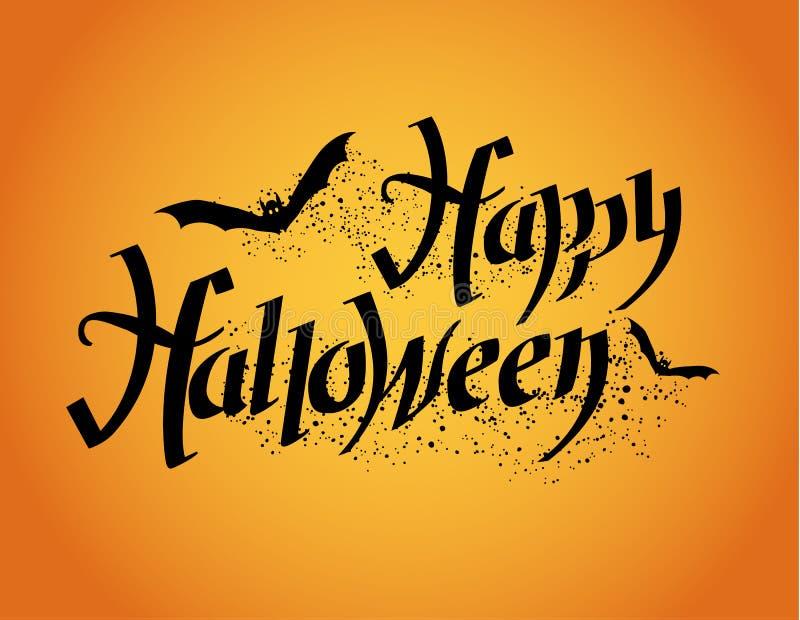 Glückliches Halloween Halloween-Plakat mit Handbeschriftung vektor abbildung