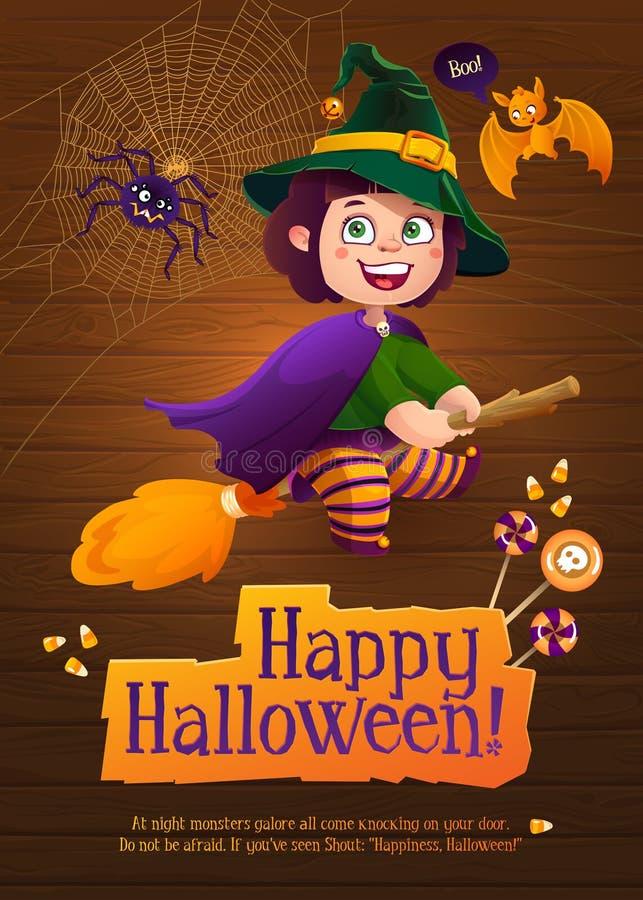 Glückliches Halloween-Hexen-Mädchen-Fliegen auf Besen lizenzfreie abbildung