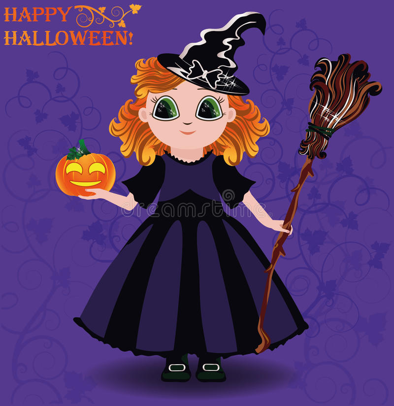 Glückliches Halloween Hexen- und Kürbiskarte des kleinen Mädchens lizenzfreie abbildung