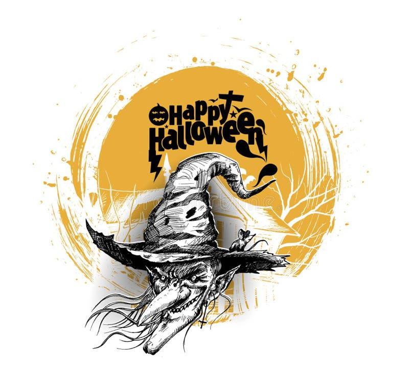 Glückliches Halloween-Hexengesicht! Beschriftungsgrußkarten lizenzfreie abbildung