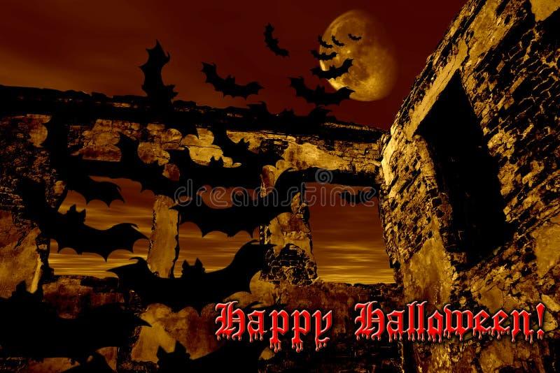Glückliches Halloween. Hiebe fliegen über die alte Ruine stock abbildung