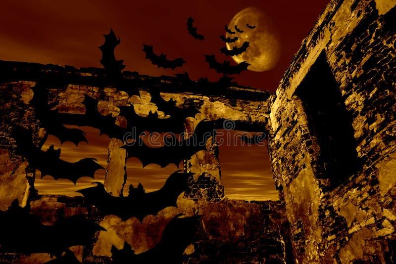 Glückliches Halloween. Hiebe fliegen über die alte Ruine lizenzfreie abbildung