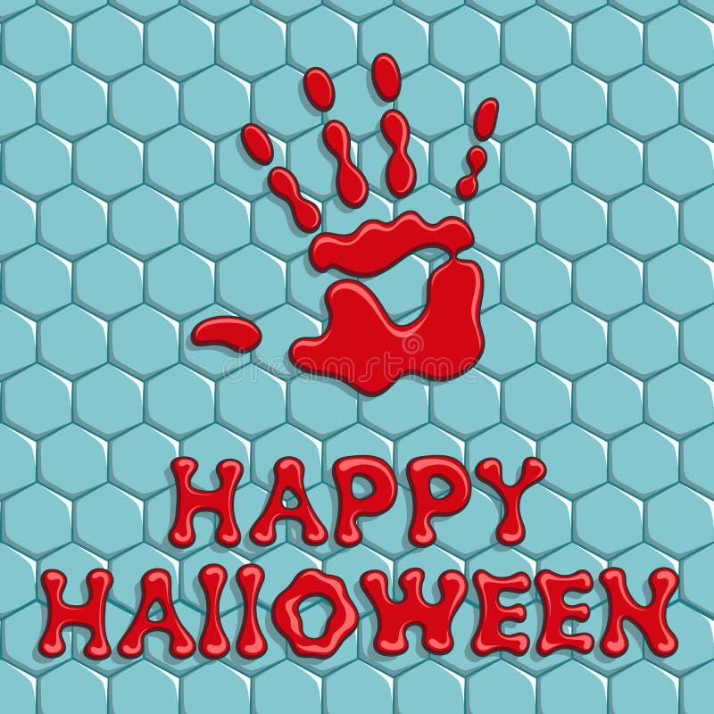 Glückliches Halloween Hintergrund mit einem blutigen Handdruck auf der Fliese lizenzfreie abbildung