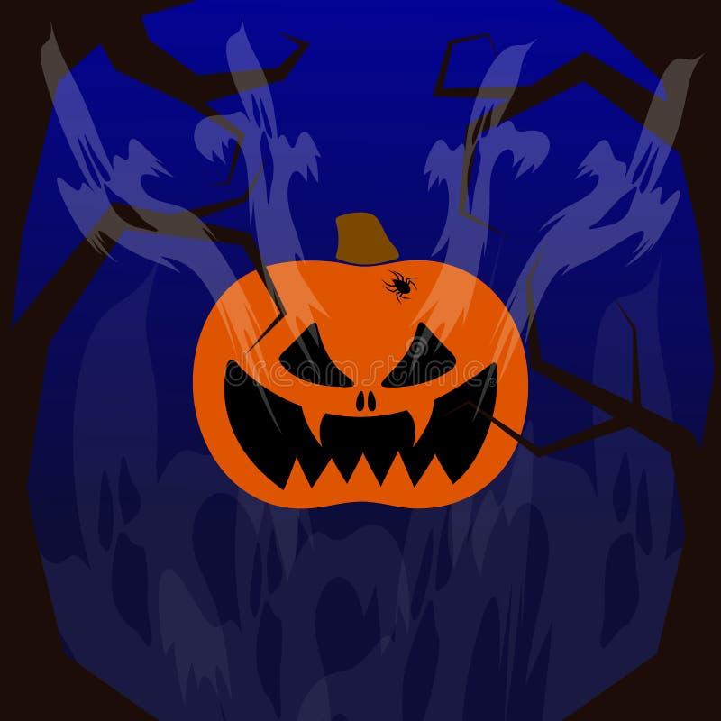 Glückliches Halloween Kürbis mit einem bösen Lächeln Fliegengeister Auf den Seiten sind schreckliche Bäume Auf einem dunklen Hint vektor abbildung