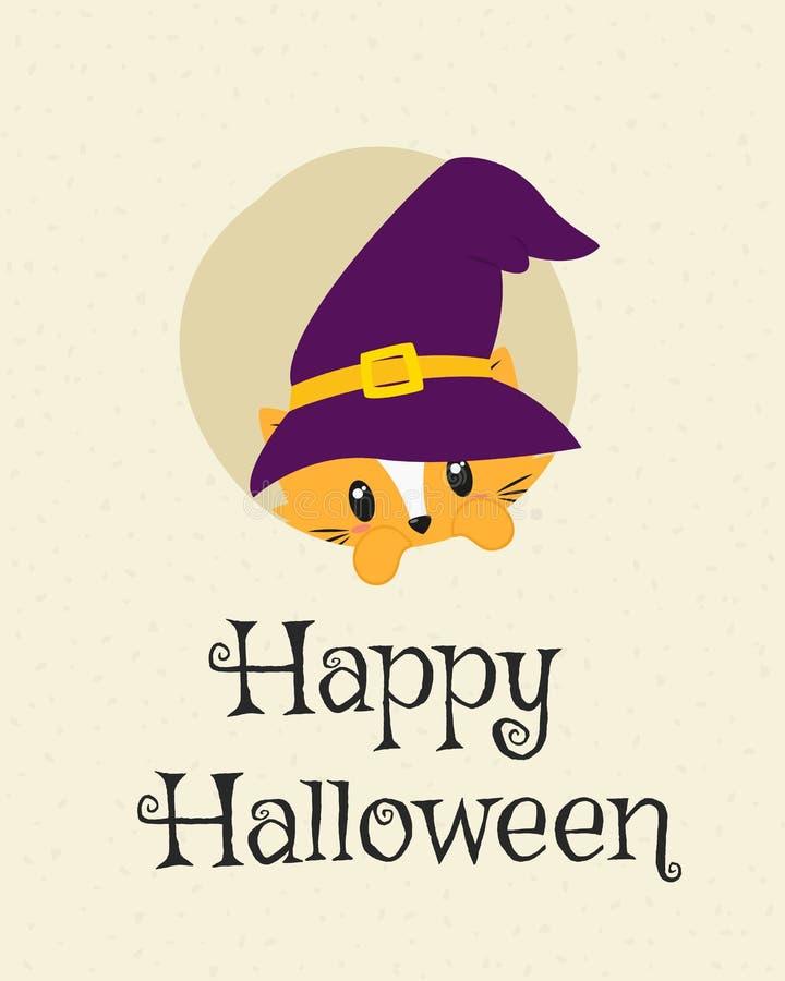 Glückliches Halloween-Karten-Design, nette Cat Peeking Cartoon Vector stock abbildung