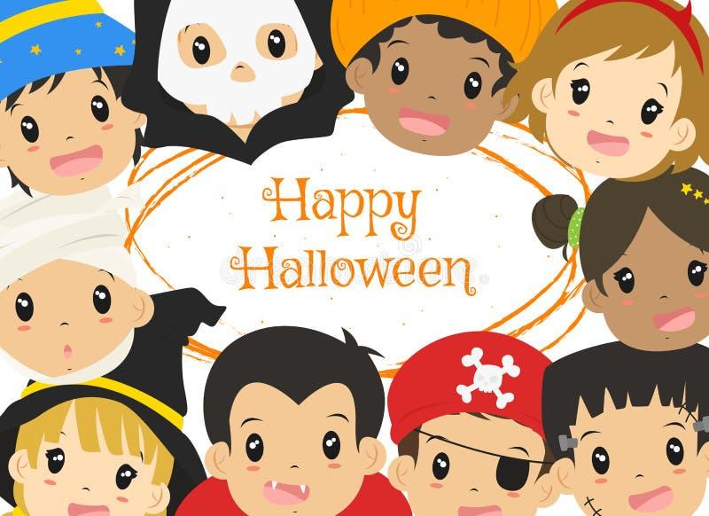 Glückliches Halloween-Karten-Design, netter Halloween-Charakter-Karikatur-Vektor lizenzfreie abbildung