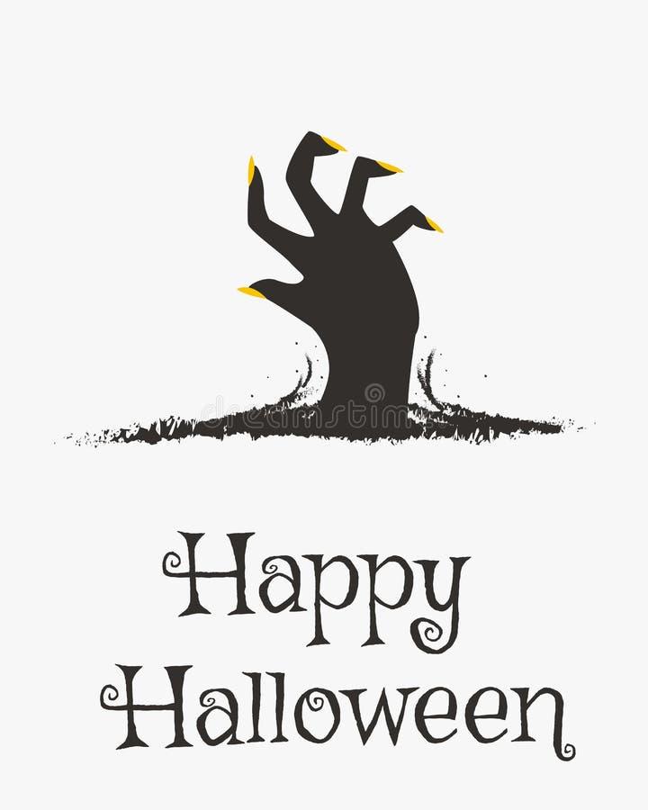 Glückliches Halloween-Karten-Design, Zombie-Handkarikatur-Vektor stock abbildung