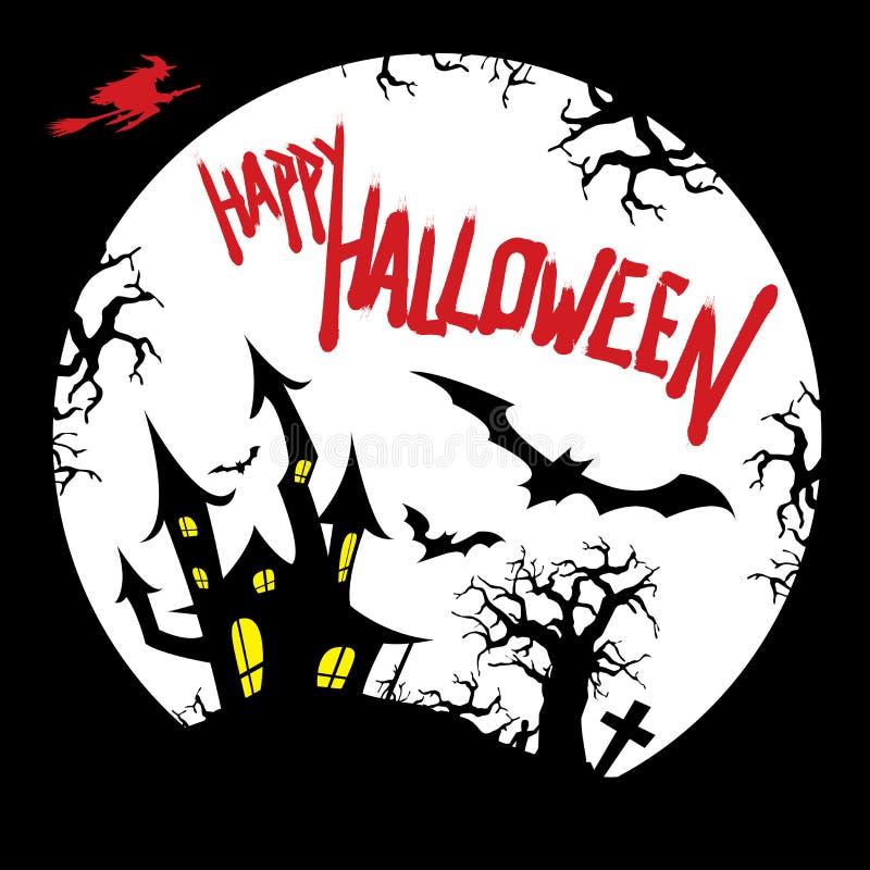 Glückliches Halloween-Kartendesign mit Geisterhaus, Friedhof, Schlägern, totem Baum, fliegender Hexe und Vollmondschattenbild lizenzfreie abbildung