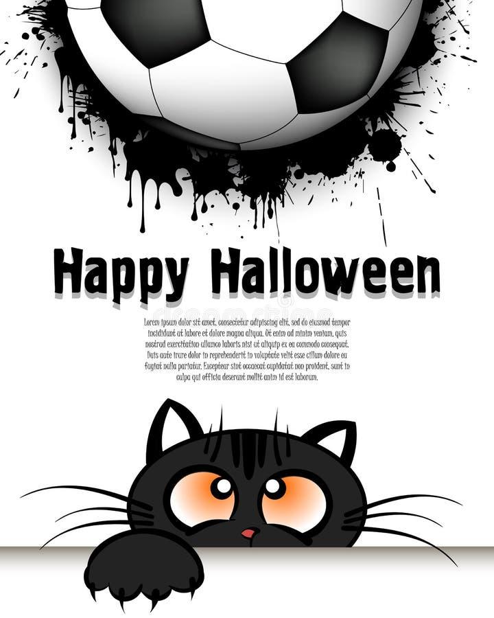 Glückliches Halloween Katzenmündung betrachtet oben dem Fußball vektor abbildung