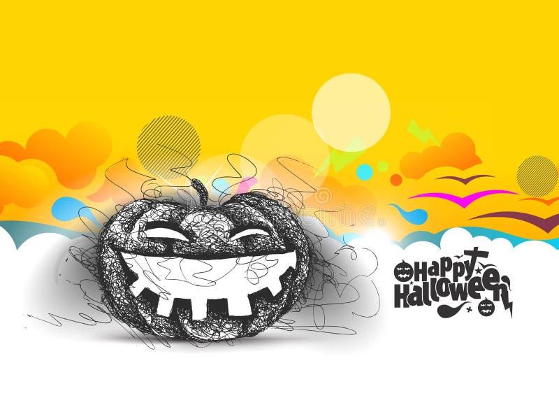 Glückliches Halloween - lachender Kürbis lokalisierte abstrakten Hintergrund stock abbildung
