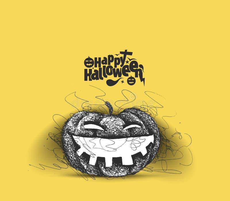 Glückliches Halloween - lachender Kürbis lokalisierte gelben Hintergrund, lizenzfreie abbildung