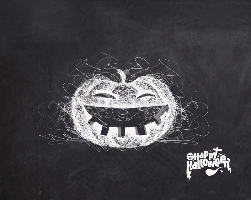 Glückliches Halloween - lachender Kürbis lokalisierte schwarzen Hintergrund stock abbildung