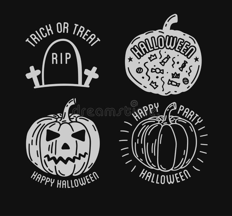 Glückliches Halloween-Logo mit dem Kurven von Kürbisen lizenzfreie abbildung
