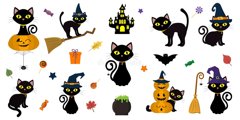 Glückliches Halloween Mega- Satz der schwarzen Katze mit gelben Augen in den verschiedenen Haltungen mit einem Kürbis, auf einem  stock abbildung