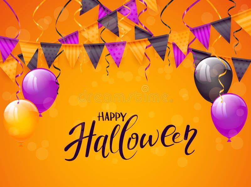 Glückliches Halloween mit Ballonen und Wimpeln auf orange Hintergrund vektor abbildung