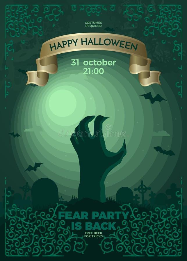 Glückliches Halloween mit der Erblast im Vollmondlicht lizenzfreie abbildung