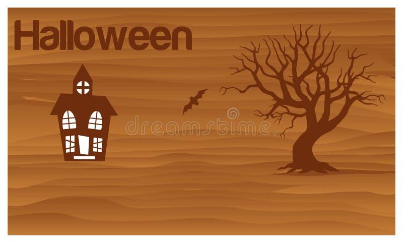 Glückliches Halloween mit Geisterhaus- und Schlägervektor Set der lustiger Zeichentrickfilm-Figurfedern und -bleistifts stock abbildung