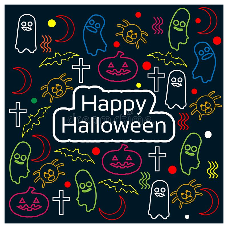 Glückliches Halloween mit Gekritzeldesignhintergrund Set der lustiger Zeichentrickfilm-Figurfedern und -bleistifts stock abbildung