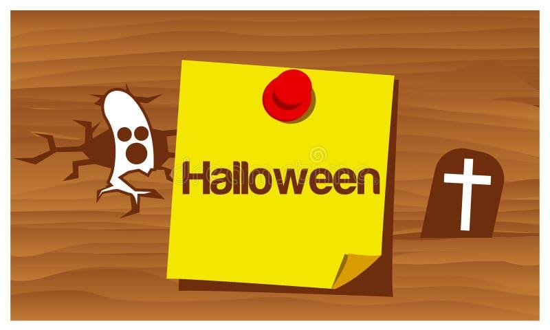 Glückliches Halloween mit Gostvektor Set der lustiger Zeichentrickfilm-Figurfedern und -bleistifts stock abbildung