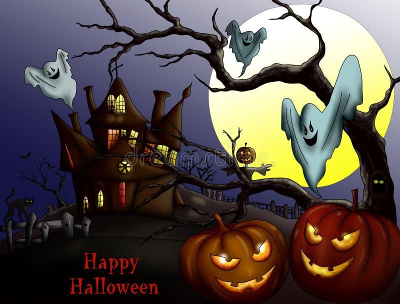 Glückliches Halloween mit Kürbis, Geisterhaus und Vollmond Invi stock abbildung