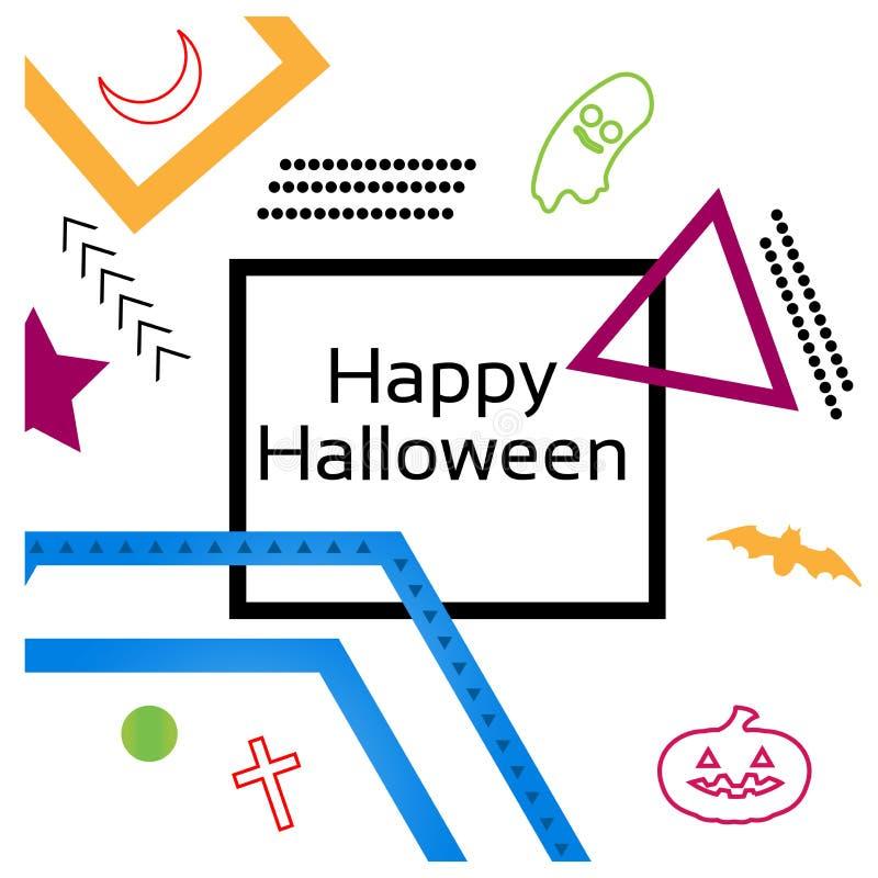 Glückliches Halloween mit Memphis-Designhintergrund Set der lustiger Zeichentrickfilm-Figurfedern und -bleistifts vektor abbildung