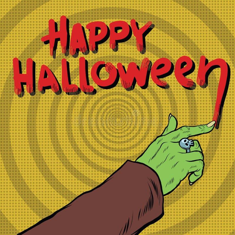 Glückliches Halloween-Monster zeichnet Blut stock abbildung